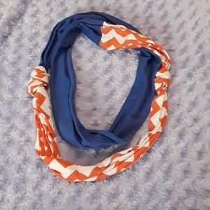 Blue and orange chevron infinity scarf